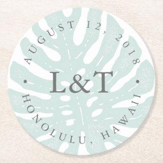 Vintage Tropics Destination Wedding Round Paper Coaster