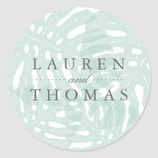 Vintage Tropics Wedding Round Sticker