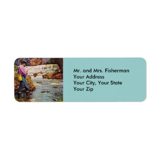 Vintage Trout Fisherman Return Address Label