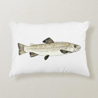 Vintage Trout Illustration Accent Pillow