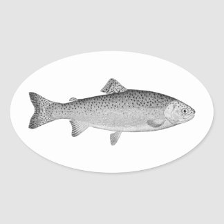 Vintage Trout Oval Sticker