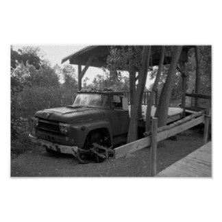 Vintage Truck Black And White Photograph Poster