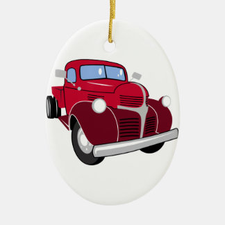 Vintage Truck Ceramic Oval Ornament