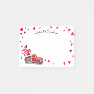 Vintage Truck Hearts Add Names 4x3 Post-it Notes