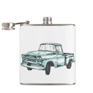 Vintage Truck Illustration Hip Flask