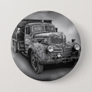 VINTAGE TRUCK IN BLACK AND WHITE 3 INCH ROUND BUTTON