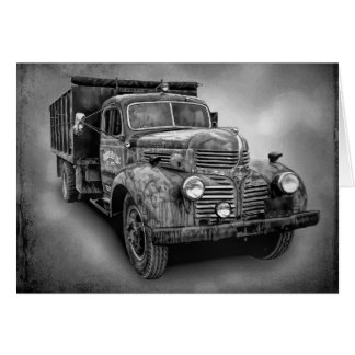 VINTAGE TRUCK IN BLACK AND WHITE CARD