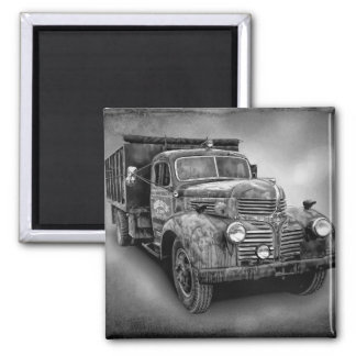 VINTAGE TRUCK IN BLACK AND WHITE SQUARE MAGNET