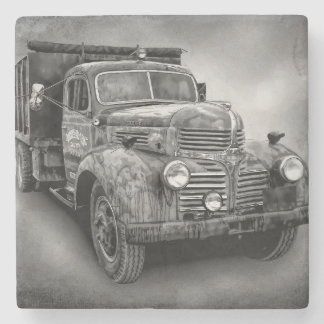 VINTAGE TRUCK IN BLACK AND WHITE STONE BEVERAGE COASTER