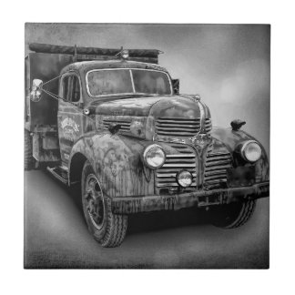 VINTAGE TRUCK IN BLACK AND WHITE TILE