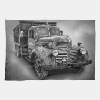 VINTAGE TRUCK IN BLACK AND WHITE TOWEL