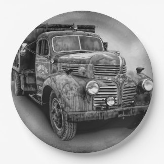 VINTAGE TRUCK PAPER PLATE