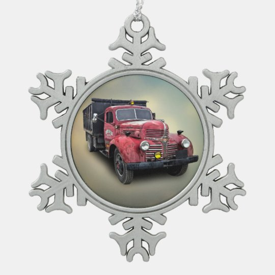 VINTAGE TRUCK PEWTER SNOWFLAKE ORNAMENT