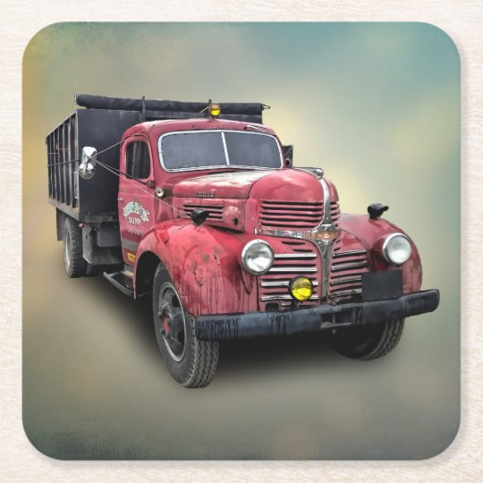 VINTAGE TRUCK SQUARE PAPER COASTER