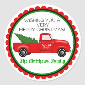 Vintage Truck with Christmas Tree Stickers