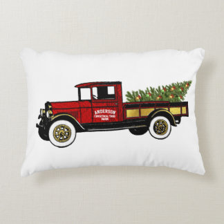 Vintage Truck Your Christmas Tree Farm Decorative Pillow