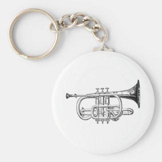 Vintage Trumpet Wood Engraving Keychain