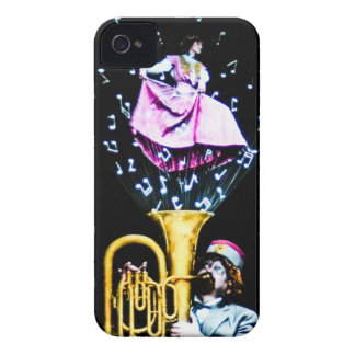 Vintage Tuba Player and Singer Music Notes iPhone 4 Case