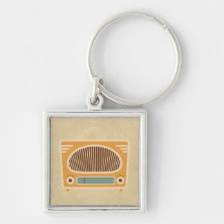 Vintage Tube Radio Collector Silver-Colored Square Keychain