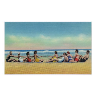 Vintage Tug of War on the Beach Poster