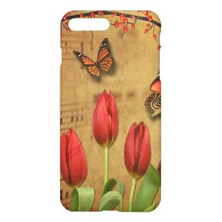 Vintage Tulip Flowers Music Notes With Butterflies iPhone 8 Plus/7 Plus Case