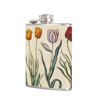 VIntage Tulip Illustration Hip Flask