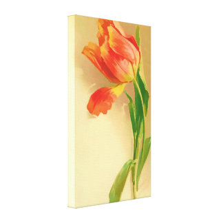 Vintage Tulip Watercolor Tilting Left Gallery Wrapped Canvas