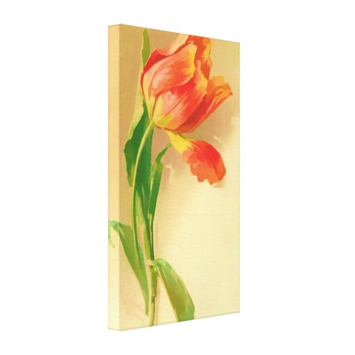 Vintage Tulip Watercolor Tilting Right Wrapped Can Stretched Canvas Prints