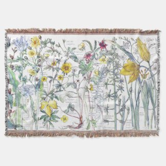 Vintage Tulip Wildflower Flowers Throw Blanket