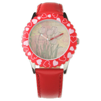 Vintage Tulips on Floral Background Wristwatch