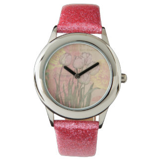 Vintage Tulips on Floral Background Wrist Watches