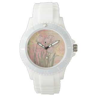 Vintage Tulips on Floral Background Watches