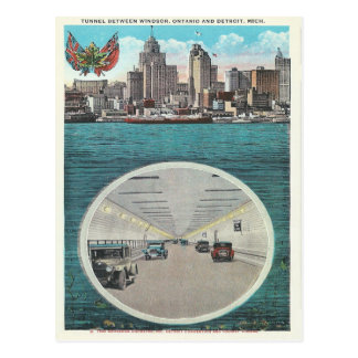 Vintage Tunnel Windsor Ontario Detroit Michigan Postcard