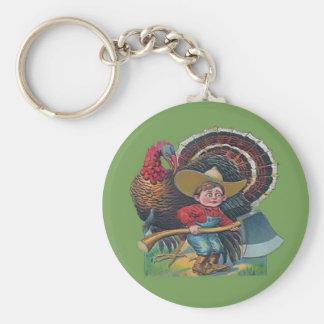 vintage turkey and farm boy basic round button keychain