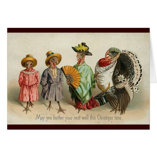 Vintage - Turkey Christmas Greeting Card