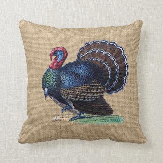 Vintage Turkey on faux Burlap Pillow