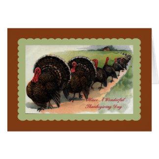 Vintage Turkey Parade Thanksgiving  Card