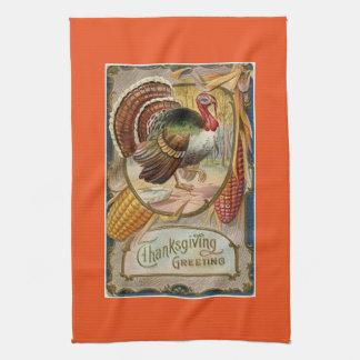 Vintage Turkey Thanksgiving Greeting Kitchen Towel