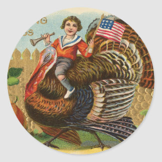 Vintage Turkey Thanksgiving Greetings Classic Round Sticker