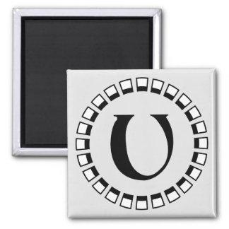 Vintage turn of the century, monogram U Square Magnet