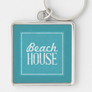 Vintage Turquoise Blue Beach House Silver-Colored Square Keychain