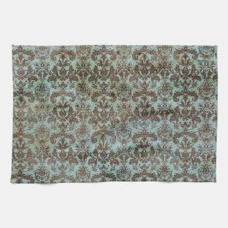 Vintage Turquoise Blue Brown Damask Pattern Kitchen Towel