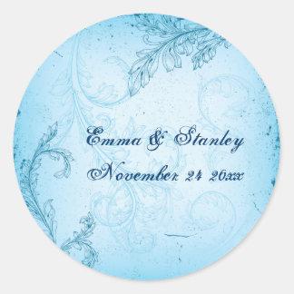 Vintage turquoise blue scroll leaf wedding classic round sticker