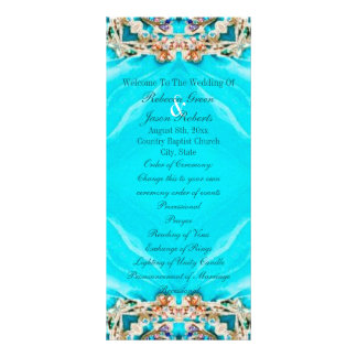 vintage turquoise bohemian wedding programs personalized rack card