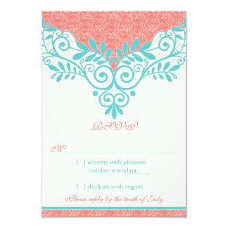"""Vintage Turquoise Coral Lace Wedding RSVP Reply 3.5"""" X 5"""" Invitation Card"""