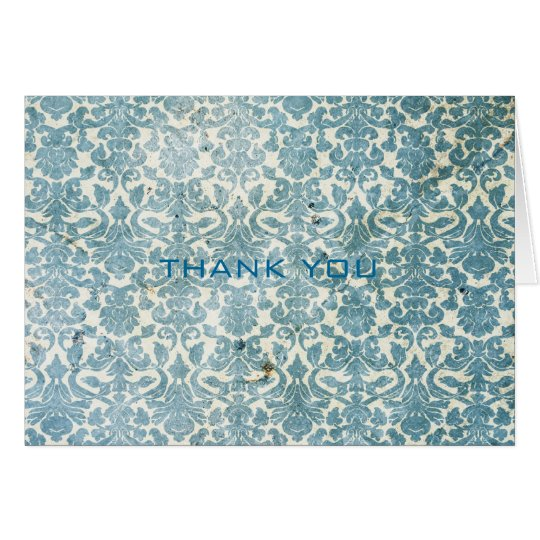 Vintage Turquoise Damask Wedding Thank You Cards