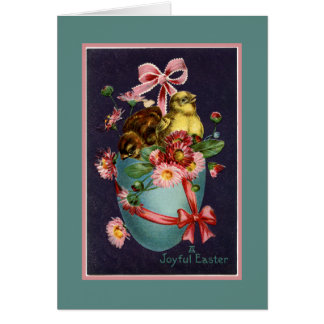 Vintage Turquoise Easter Egg and Chicks Card