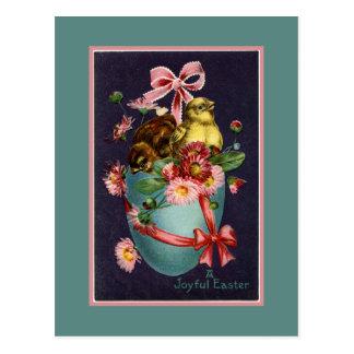 Vintage Turquoise Easter Egg and Chicks Postcard