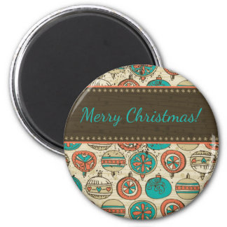 Vintage Turquoise Red Beige Christmas Hanging Ball 2 Inch Round Magnet