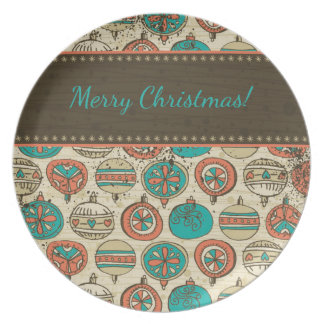 Vintage Turquoise Red Beige Christmas Hanging Ball Dinner Plate